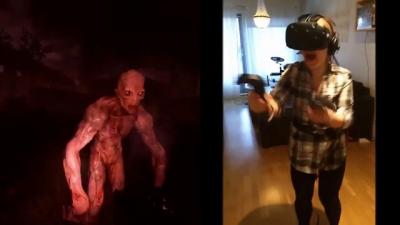 Jogando terror em realidade virtual e suas reações engraçadas
