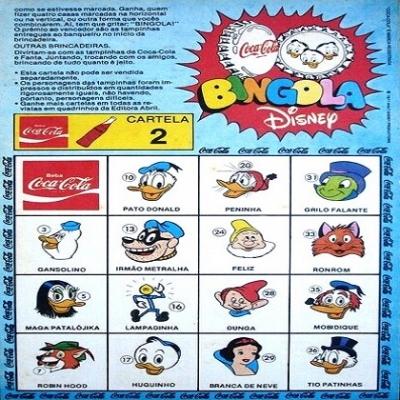 Bingola Disney - Jogo de bingo, onde as tampinhas traziam personagens de Walt Di