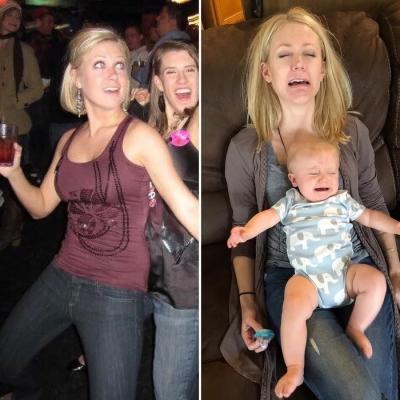 Pais e Mães tiram fotos de antes e depois de ter filhos