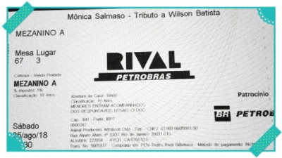 Mônica Salmaso  faz tributo a Wilson Baptista – Teatro Rival Petrobras – 25/8
