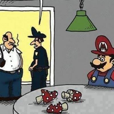 O Mário Bros foi preso com cogumelos nos bolsos
