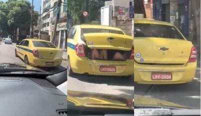 Taxista é flagrado trafegando com duas pessoas no porta-malas no Rio