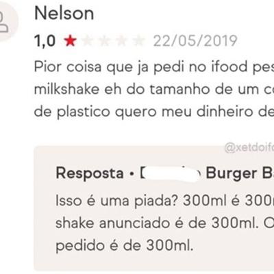 O curioso caso do cliente que não sabia quanto era 300ml de milkshake