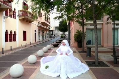 Líbano: vídeo aterrorizante mostra foto de noiva interrompida por explosão