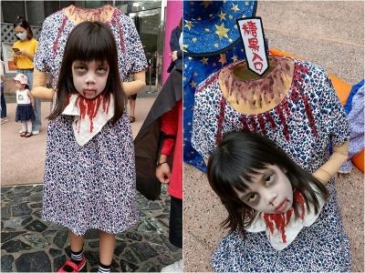 A Fantasia de Halloween sem cabeça dessa menina era tão apavorante que assustava