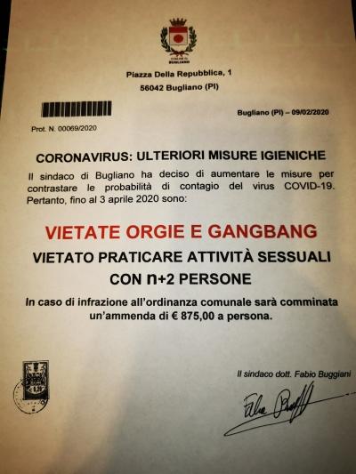 Coronavírus obriga prefeito a proíbir orgias na Itália