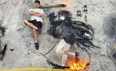 Artista de rua cria belos desenhos com pedras e lenha em chamas