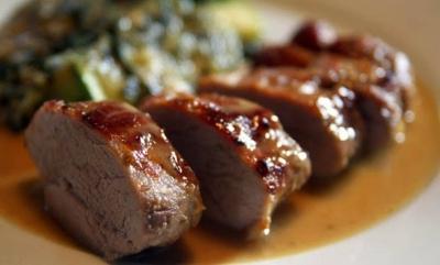 Lombo de porco com mel e mostarda