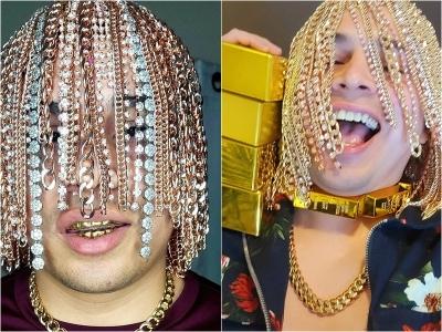 Rapper mexicano implanta correntes de ouro na cabeça