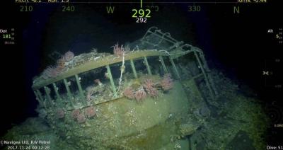 A descoberta dos cinco navios Japoneses afundados da batalha do Golfo