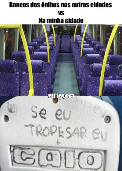 Bancos dos ônibus na minha cidade