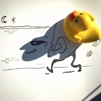 Artista transforma as sombras dos objetos em ilustrações geniais